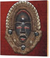 Dean Gle Mask By Dan People Of The Ivory Coast And Liberia On Red Velvet Wood Print