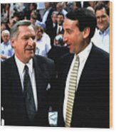 Dean Smith And Mike Krzyzewski Wood Print