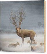 Deer Cool Tone Wood Print