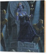 Death Queen On Throne With Skulls Wood Print
