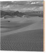 Death Valley Dunes Black And White Wood Print