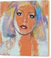 Debbie Harry - Orange Funky Grunge Wood Print