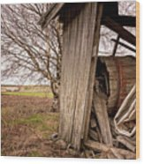 Debris In An Old Barn Wood Print