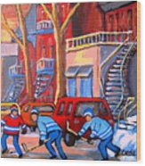 Debullion Street Hockey Stars Wood Print