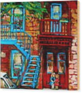 Debullion Street Neighbors Wood Print