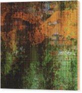 Decadent Urban Brick Green Orange Grunge Abstract Wood Print