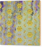 Decadent Urban Bright Yellow Patterned Purple Abstract Design Wood Print