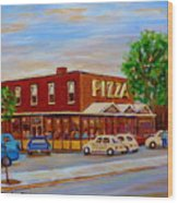 Decarie  Tasty  Food  Pizza Wood Print