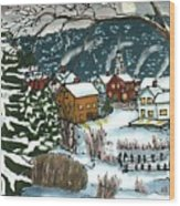 December Village Silk Painting Wood Print