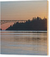 Deception Pass Bridge Sunset Sunstar Wood Print