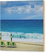 Deck Chairs And Distant Rainbow Wood Print