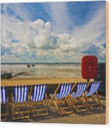 Deck Chairs At Southend On Sea Wood Print