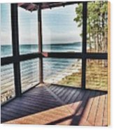 Deck With Ocean View Wood Print