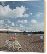 Deckchairs On Brighton Beach Wood Print
