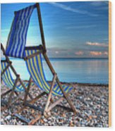 Deckchairs On The Shingle Wood Print