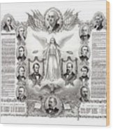 Declaration Of Independence 1884 Poster Restored Wood Print