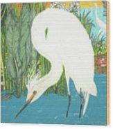 Deco Egret Wood Print
