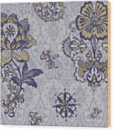 Deco Flower Blue Wood Print