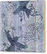 Deco Hummingbird Blue Wood Print by JQ Licensing