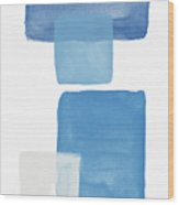 Deconstructed Blue Gingham 1- Art By Linda Woods Wood Print