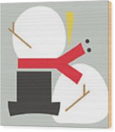 Deconstructed Snowman- Modern Art By Linda Woods Wood Print
