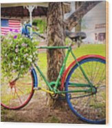 Decorated Bicycle In The Park Wood Print