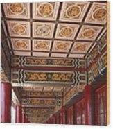 Decorated Columned Hall Of A Chinese Temple Wood Print