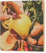 Decorated Organic Vegetables Wood Print