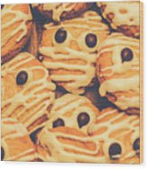 Decorated Shortbread Mummy Cookies Wood Print