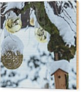 Decorations In The Snow Wood Print