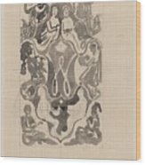 Decorative Design With Crowned W Surrounded By Persons, Carel Adolph Lion Cachet, 1874 - 1945 Wood Print