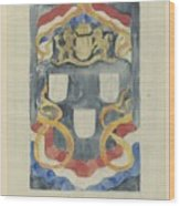 Decorative Design With The National Coat Of Arms, Flags And Banners, Carel Adolph Lion Cachet, 1874  Wood Print