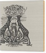 Decorative Design With Two Standing Deer, Carel Adolph Lion Cachet, 1874 - 1945 Wood Print