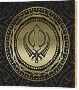 Decorative Khanda Symbol Gold On Black Wood Print