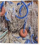 Deep Blue Net Wood Print