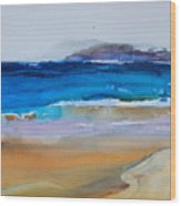 Deep Blue Sea And Golden Sand Wood Print