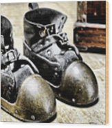 Deep Diver Boots Hdr And Vintage Process Wood Print