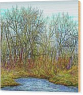 Deep Forest River Wood Print