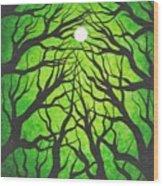 Deep Green Forest Wood Print