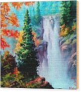 Deep Jungle Waterfall Scene. L A  Wood Print