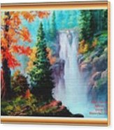 Deep Jungle Waterfall Scene L A With Alt. Decorative Ornate Printed Frame. Wood Print