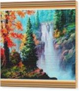 Deep Jungle Waterfall Scene L B With Alt. Decorative Ornate Printed Frame. Wood Print