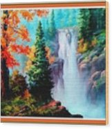 Deep Jungle Waterfall Scene L B With Decorative  Ornate Printed Frame. Wood Print