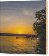 Deep Orange Sunset Over Keuka Lake Wood Print