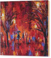 Deep Red Wood Print