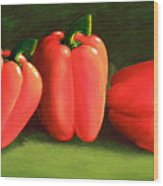 Deep Red Peppers Wood Print