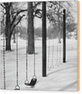 Deep Snow & Empty Swings After The Blizzard Wood Print