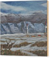 Deer And Drilling Rig Wood Print