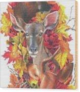 Deer And Fall Leaves Wood Print