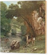 Deer By A River Wood Print